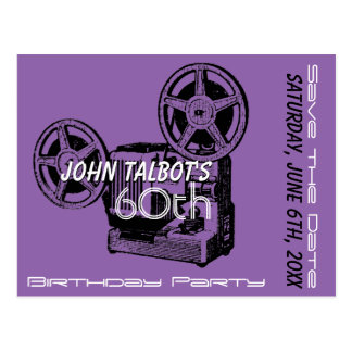 Old Projector 60th birthday Party Save the Date Postcard