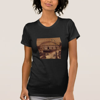 Old Quayside Fitted Ladies Black Tee Shirt