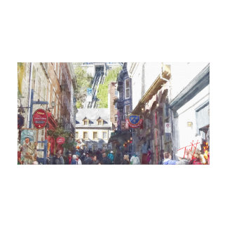 Old Quebec City Watercolor Print #1 Stretched Canvas Prints