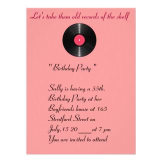 Old records birthday invitation.