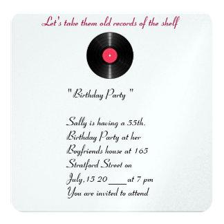 Old records birthday invitation. 13 cm x 13 cm square invitation card