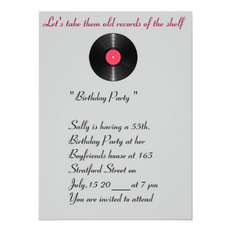 Old records birthday invitation. 14 cm x 19 cm invitation card