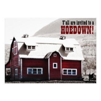 Old Red Barn Country Style Hoedown Barn Raising Personalized Invitations