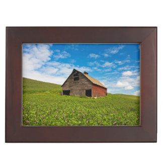 Old, red barn in field of chickpeas keepsake box
