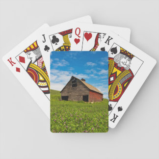 Old, red barn in field of chickpeas playing cards