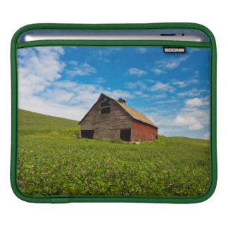Old, red barn in field of chickpeas sleeves for iPads