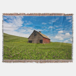 Old, red barn in field of chickpeas throw blanket