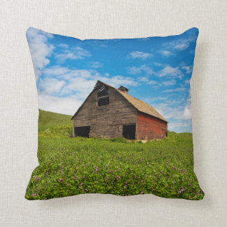 Old, red barn in field of chickpeas throw pillow