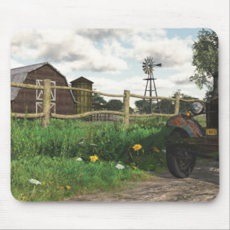 Old Red Barn & Rusty Truck Mouse Pad