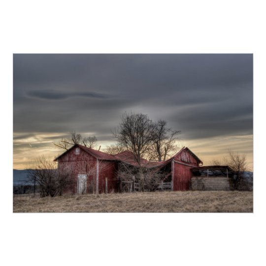 Old Red Barn Winter Trees HDR Photography Poster