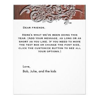 Old Red Barn Wood Silver Snow Holiday Newsletter 11.5 Cm X 14 Cm Flyer