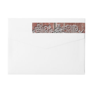 Old Red Barn Wood Silver Snow Personalized Wrap Around Label