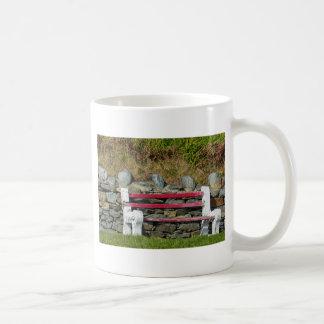 Old red bench basic white mug