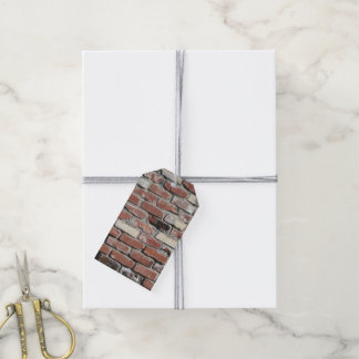 Old red brick wall gift tags
