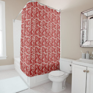 old Red Feathers Shower Curtain