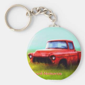Old Red Pickup Barn Yard Memories Basic Round Button Key Ring