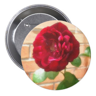 Old Red Rose 2 Painterly 7.5 Cm Round Badge