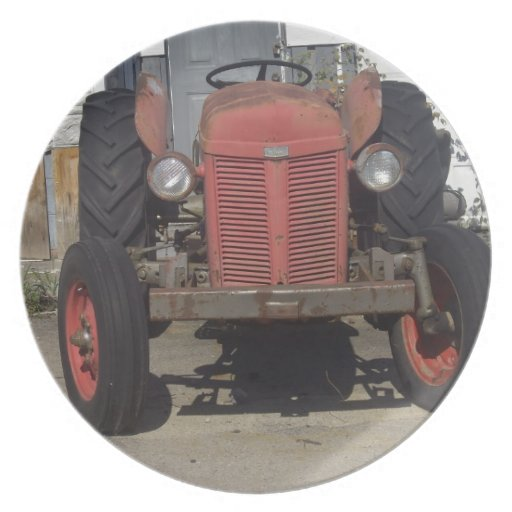 Red Tractor Plate Outlit : Old red tractor dinner plates zazzle