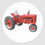 old red tractor round sticker