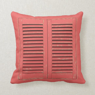 Old red window shutters throw pillow