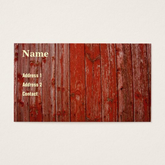 Old red wood business card