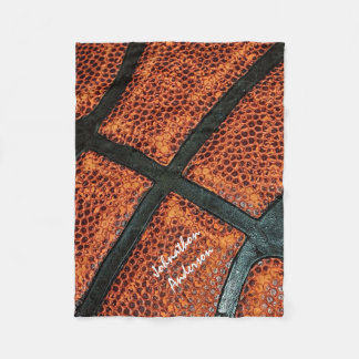 Old Retro Basketball Pattern With Autographed Name Fleece Blanket