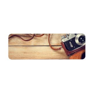Old Retro Camera On Wooden Table Background Return Address Label