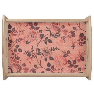 Old_Retro_Floral (c) Soft-Peach- Large- Serving Tray