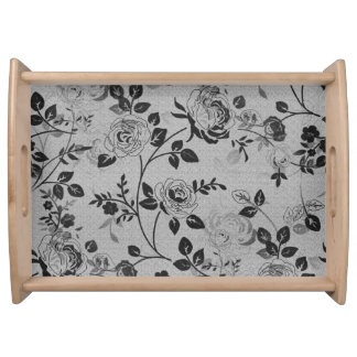 Old_Retro_Floral (c) Soft-Silver- Large- Serving Tray