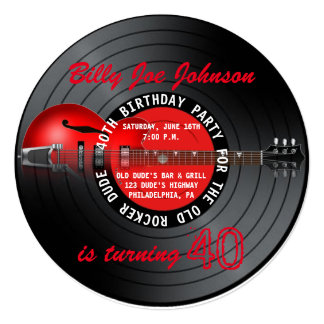 "Old Rocker Dude Guitar Record 40th Birthday Party 5.25"" Square Invitation Card"