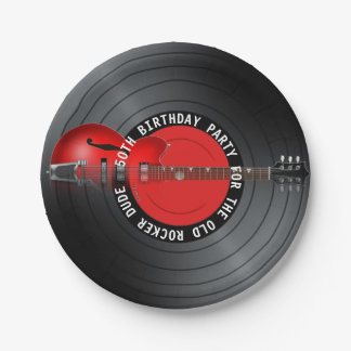 Old Rocker Dude Guitar Record 50th Birthday Party Paper Plate