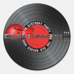Old Rocker Dude Guitar Record 50th Birthday Party Round Sticker