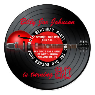 Old Rocker Dude Guitar Record 80th Birthday Party 5.25x5.25 Square Paper Invitation Card