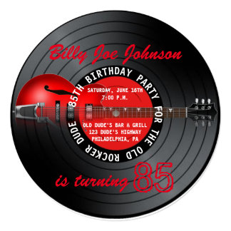 Old Rocker Dude Guitar Record 85th Birthday Party 5.25x5.25 Square Paper Invitation Card