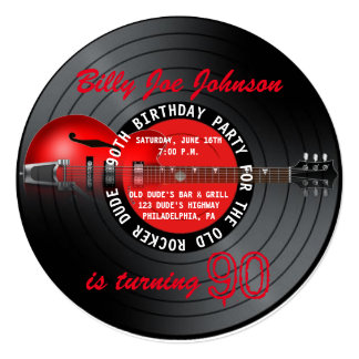 Old Rocker Dude Guitar Record 90th Birthday Party 5.25x5.25 Square Paper Invitation Card