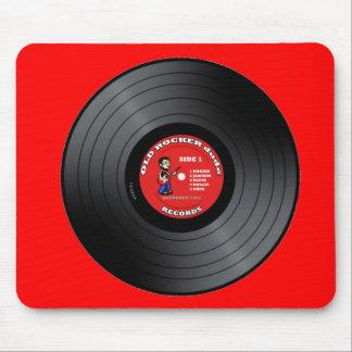 Old Rocker Dude Vinyl Record Mousepad