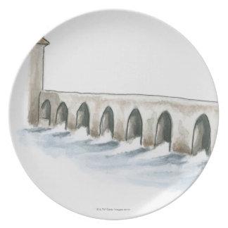 Old Roman Bridge Dinner Plates