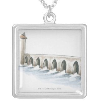 Old Roman Bridge Silver Plated Necklace