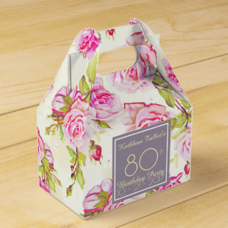 Old Roses 80th Birthday Thank You Favor Box