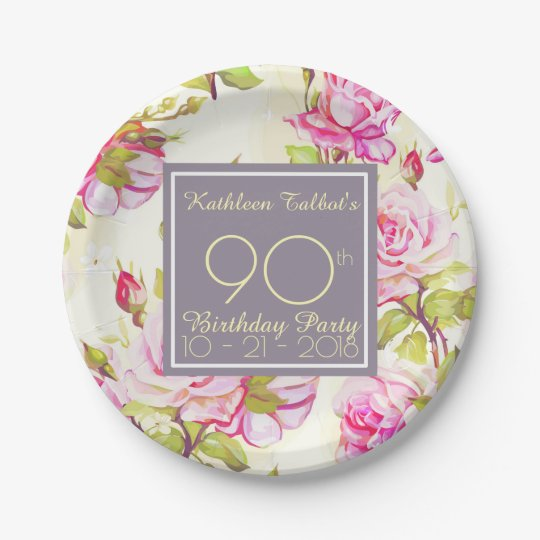 Old Roses 90th Birthday Party Paper Plate