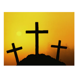 Old Rugged Wooden Cross on Calvary Hill at Sunset Post Cards