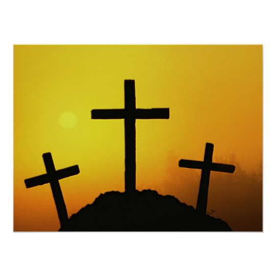 Old Rugged Wooden Cross on Calvary Hill at