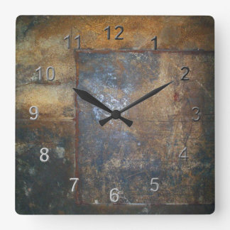Old Rust Square Wall Clock