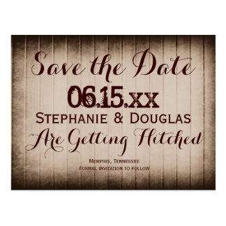 Old Rustic Barn Wood Save the Date Postcards
