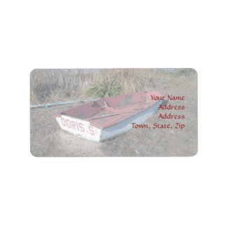 Old Rustic Row Boat Address Label