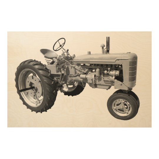 Old rustic tractor wood wall art