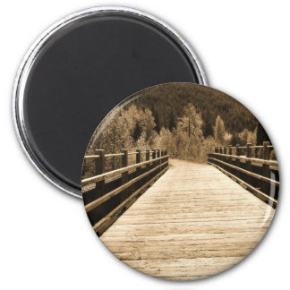 Old Rustic Wooden Bridge 6 Cm Round Magnet