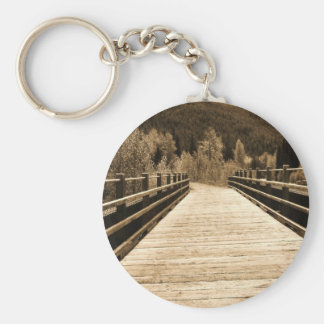 Old Rustic Wooden Bridge Basic Round Button Key Ring