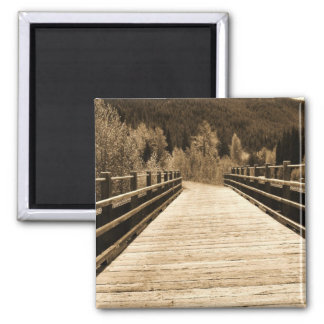 Old Rustic Wooden Bridge Square Magnet