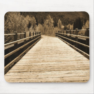 Old Rustic Wooden Bridge Mouse Pad